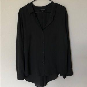 Metaphor Long Sleeve Black Button Blouse
